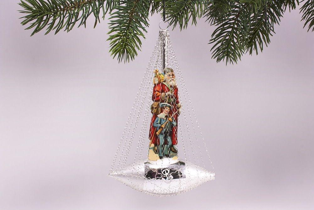 Nostalgisches schiffchen mit motiv in rot antik style for Nostalgische weihnachtskugeln