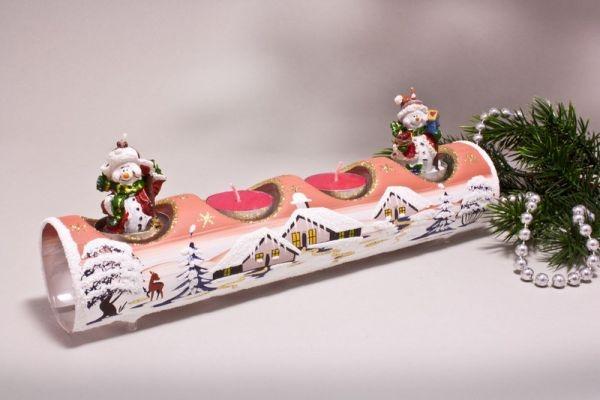 Teelichthalter Glasröhre Winterlandschaft terrakotta