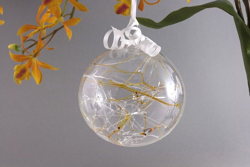 Traumkugel aus Glas 7 cm bernstein