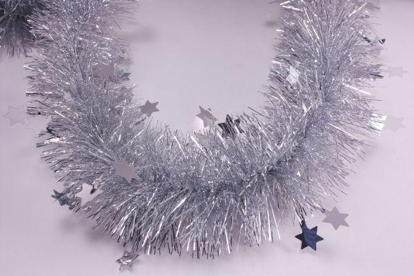 Girlande mit Sternen silber 70mm x 3m