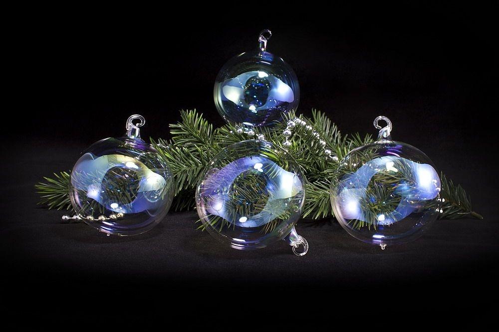 4 Seifenblasen-Kugeln 6cm aus bunt schillerndem Glas