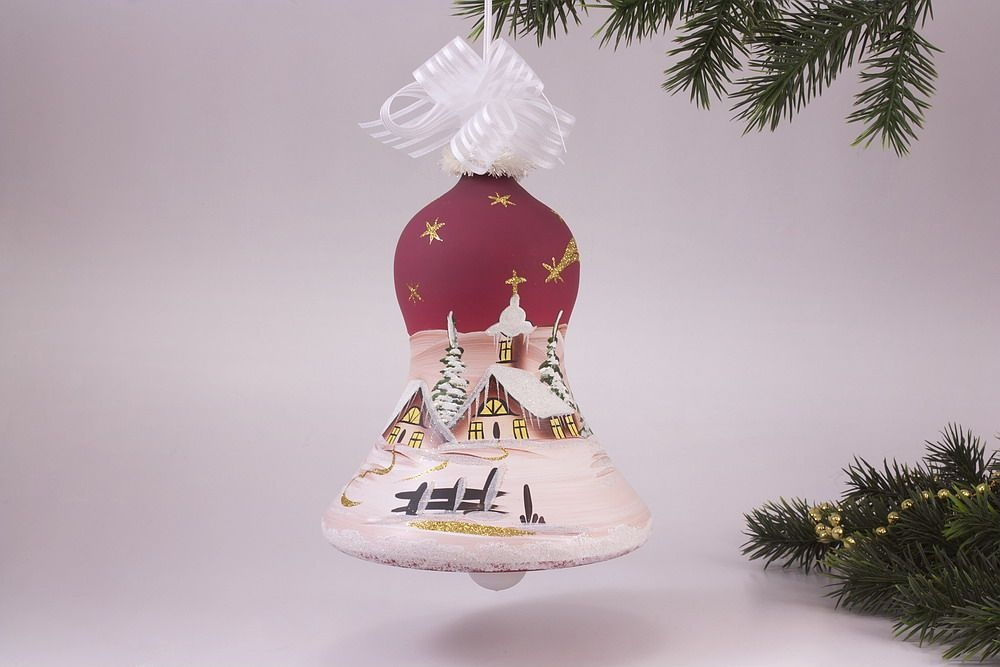 Beleuchtete Christbaumkugeln.Beleuchtete Glocke 16cm Mit Winterlandschaft In Rot Komplett Mit Trafo Und Ca 5 M Kabel