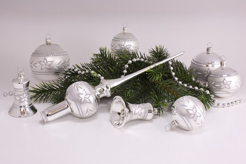 21teiliges Set Silber Glanz mattes Band