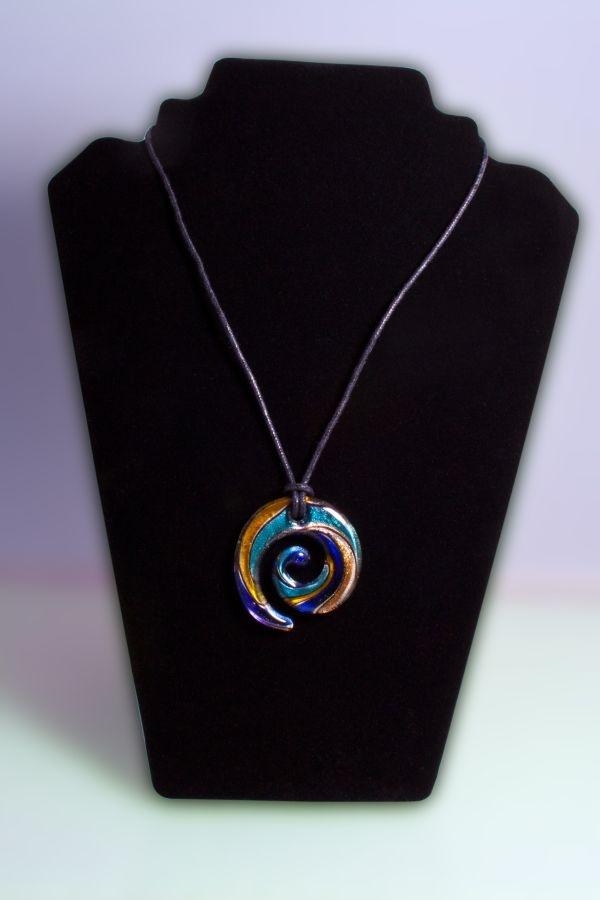 Glasschmuck Spirale aus Glas silber türkis