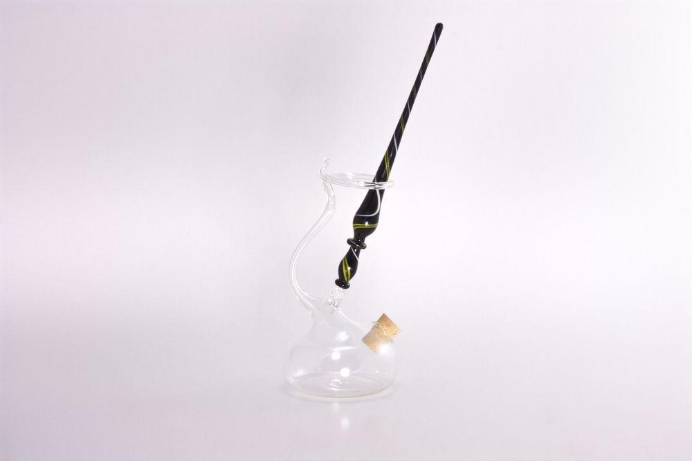Set Glasfeder Glasfederhalter schwarz gelb weiß transparent