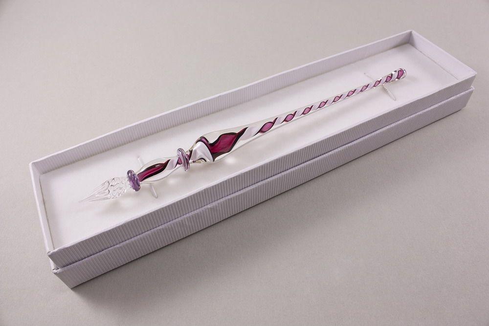 Glasschreiber Glasfederhalter pink weiß transparent