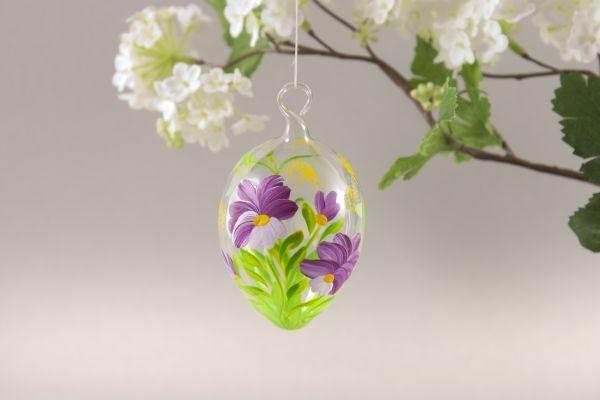Ostereier aus Glas -  Blume fuchsia ca. 5 cm