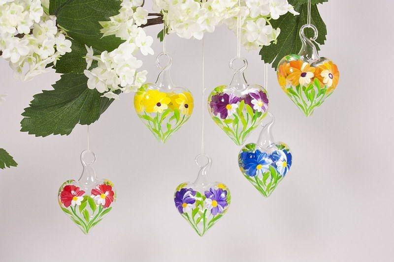 6 Mini-Herzen aus Glas 3,5 cm im Set