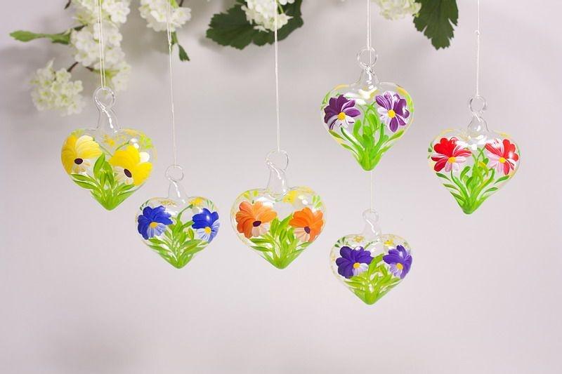 Buntes Set 6 dekorative Glasherzen 5 cm im Vorteilspack