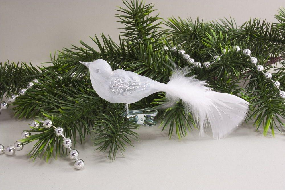 kleiner Vogel Eisweiß transparent Silber mit weißer Feder