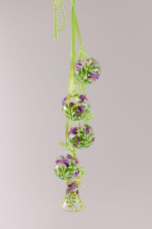 Dekoration aus Glas - Gebinde mit Glocke Blume fuchsia