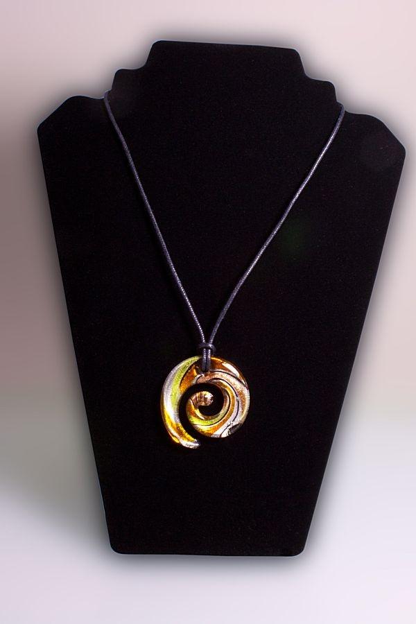 Glasschmuck Spirale aus Glas silber grün