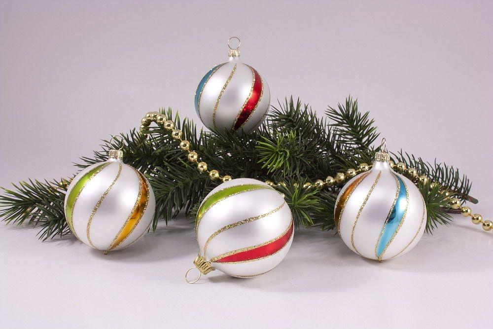 4 große Weihnachtskugeln 10cm bunte Weihnacht