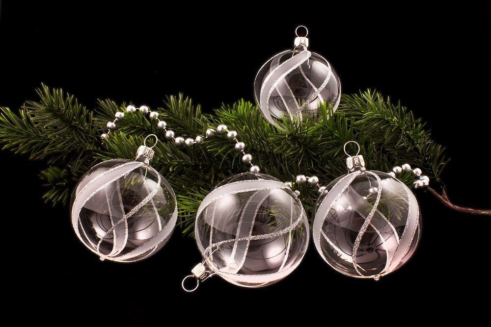 4 Weihnachtskugeln 6cm transparent silber gst