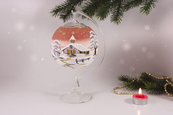 Teelichtkugel 12 cm mit Glasständer im Set terrakotta