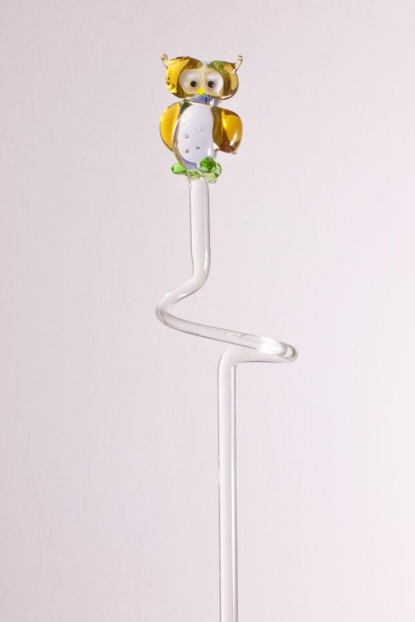 Orchideenstab ca. 40 cm mit Eule bernstein