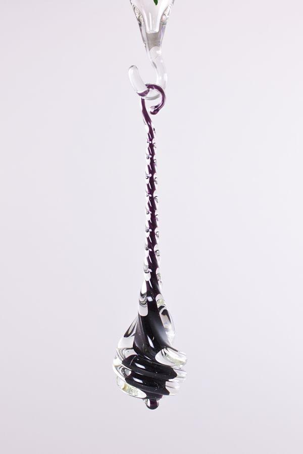 Glastropfen ca. 8 cm x 2 cm gedreht mit Farbkern schwarz