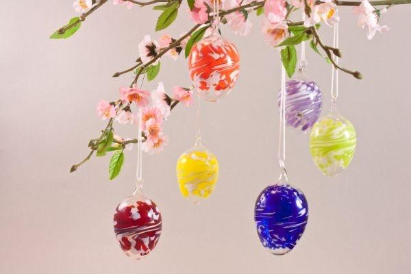 6 bunte Ostereier aus Glas zum hängen im Sparset ca. 5 cm