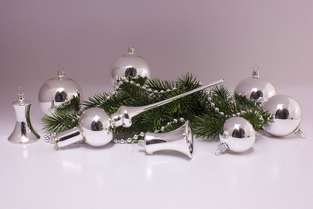 21tlg. Set mit Weihnachtsbaumspitze silber Glanz uni