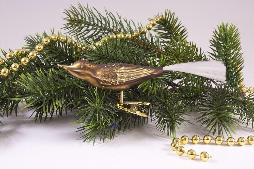 1 Vogel braun matt mit Gold