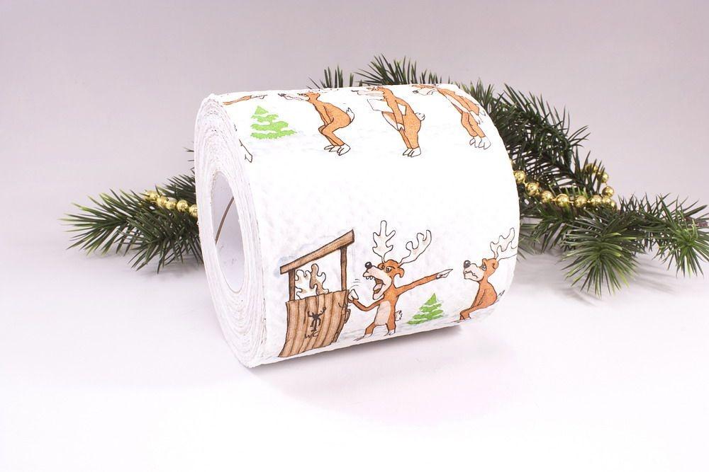 1 Rolle Toilettenpapier bedruckt Elch beeil dich