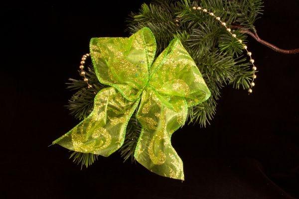 Weihnachtsschleife grün gold