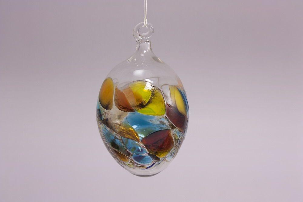 6 bunte glaseier im set 7cm christbaumkugeln for Bunte lampenschirme aus glas
