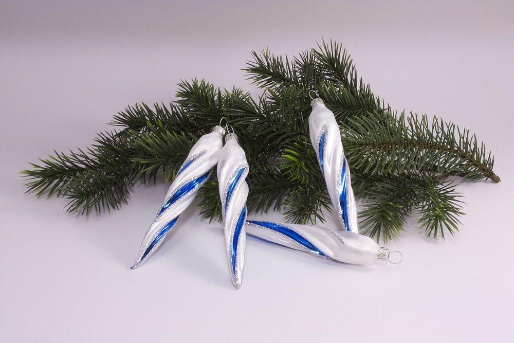 4 Eiszapfen ca. 13cm x 2cm Eisweiß blau