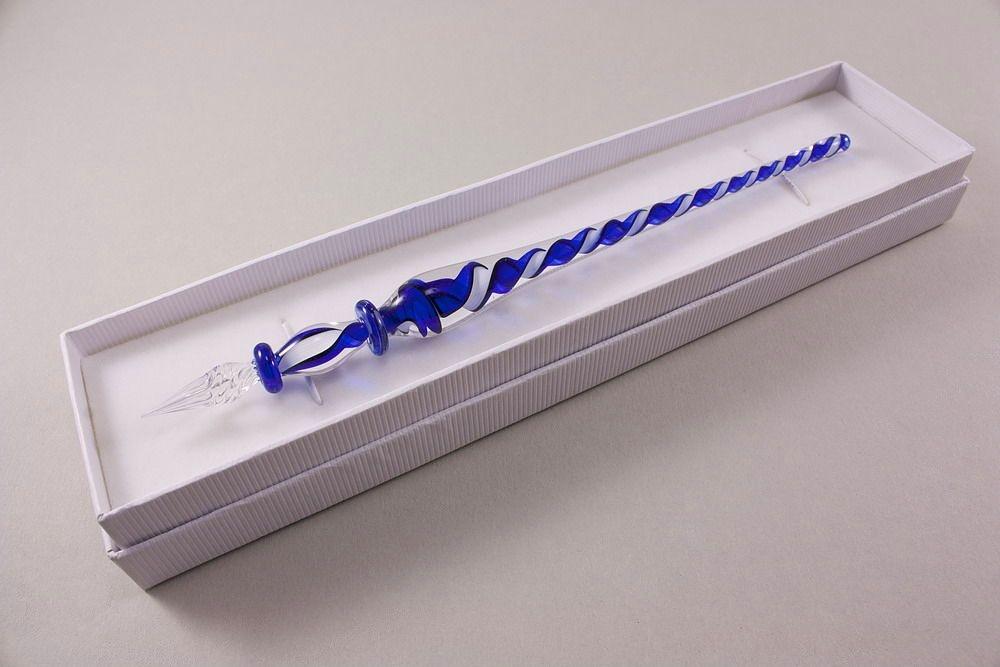 Glasschreiber weiß blau transparent