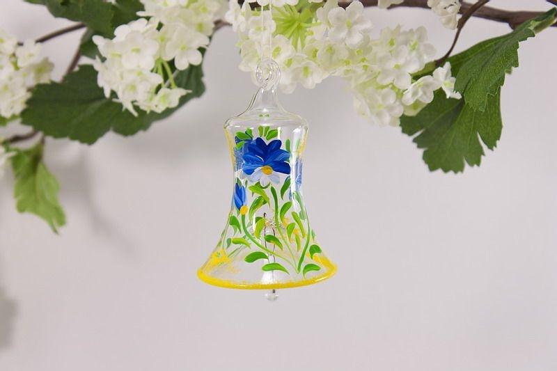 Glasglöckchen 4 cm mit Blumenmotiv in blau