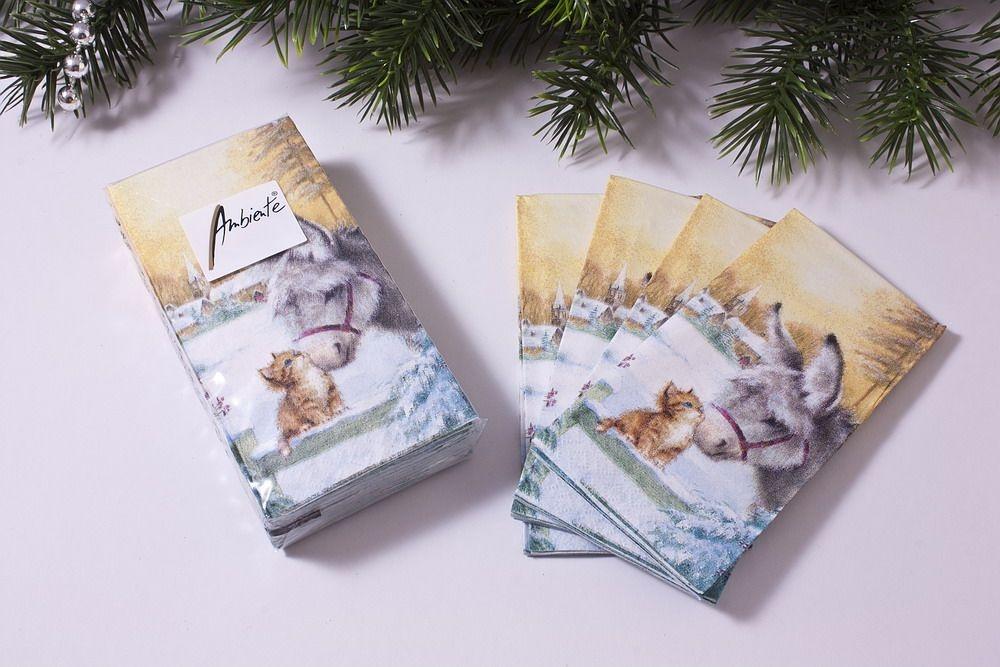 1 Packung Papier-Taschentücher mit Motiv Esel mit Kätzchen