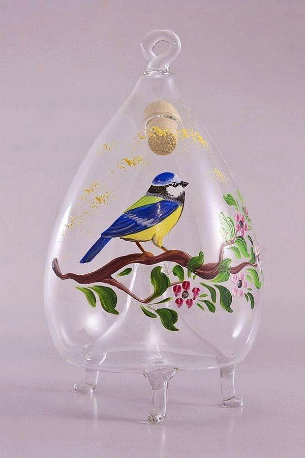 Fliegenfalle aus Glas Motiv Blaumeise