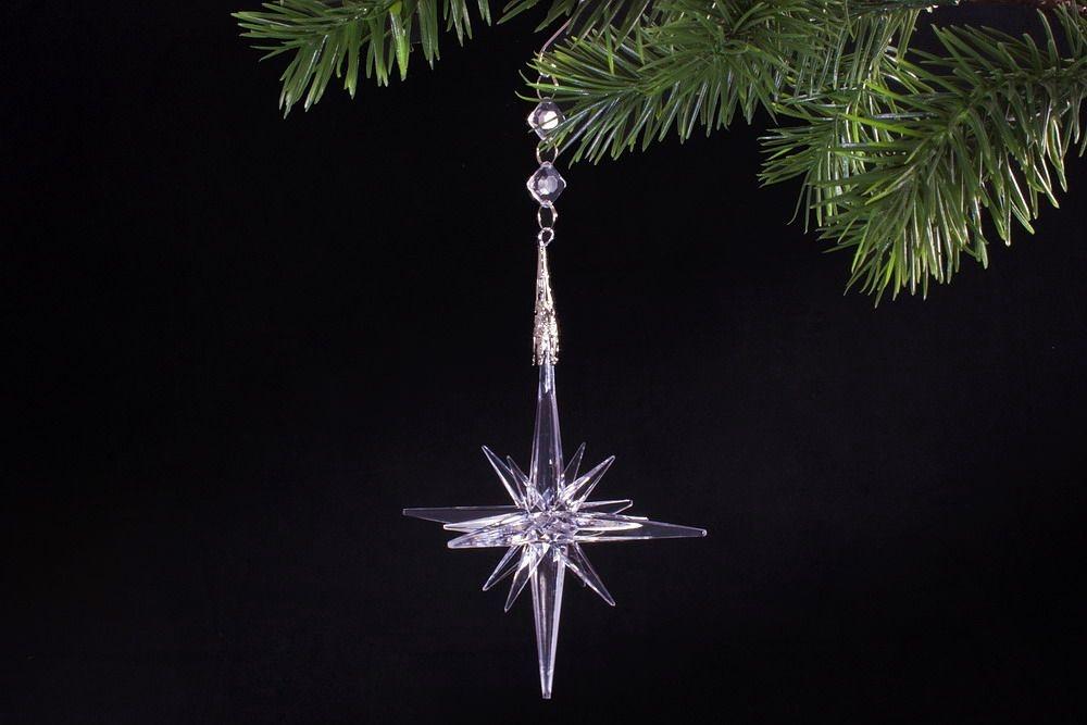 XXL 3D-Stern 25cm x 12cm kristallklar mit Schlaufe