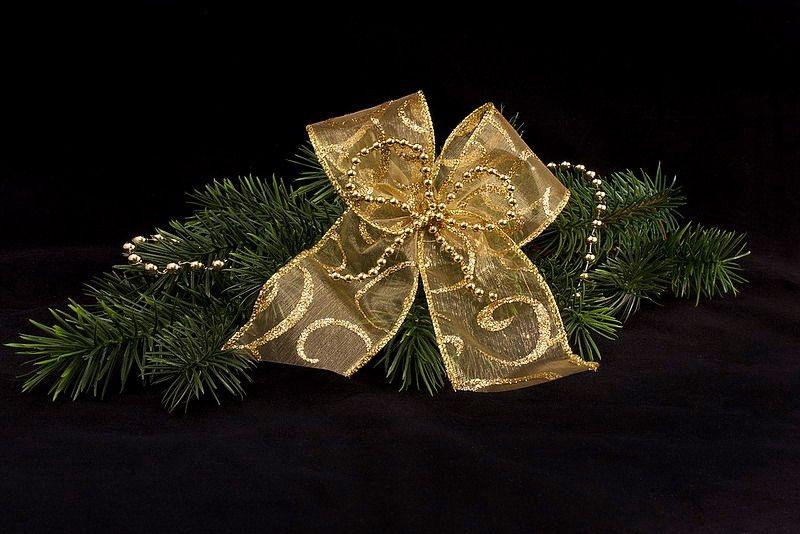 Dekoschleife mit Perlen in Gold