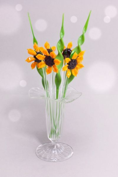 Bowlespieße Glas 10teilig Sonnenblume im Set gedrehtes Blatt