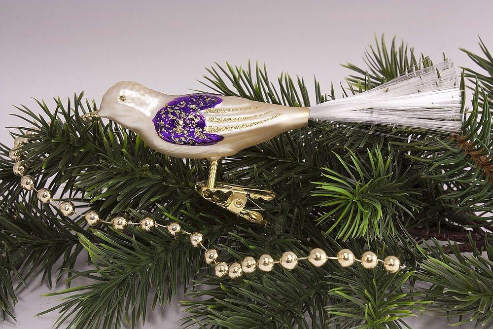 1 Vogel Champagner violett
