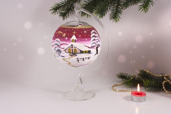 Teelichtkugel 12cm mit Glasständer im Set rot
