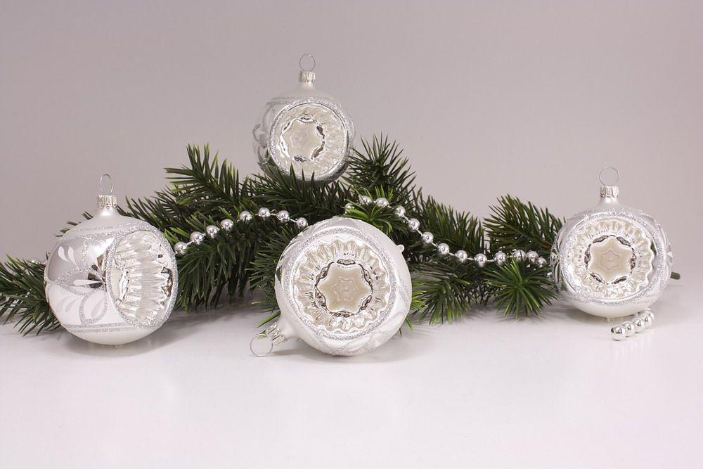 Christbaumkugeln Reflexkugeln.4 Reflexkugeln 6cm Silber Glanz Matt Umrandet Christbaumkugeln Aus Glas