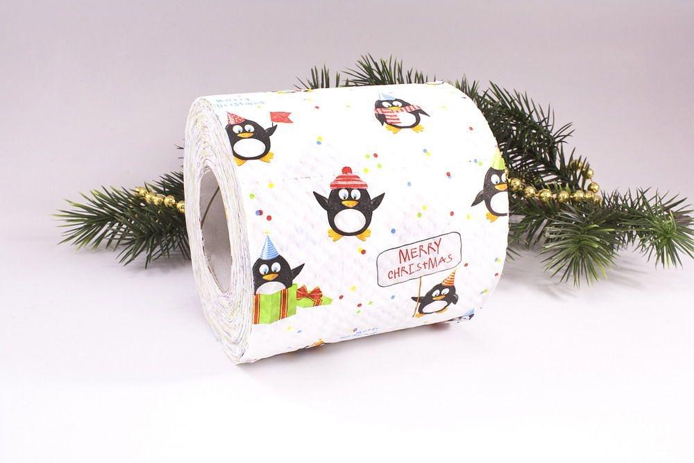 1 Rolle Toilettenpapier bedruckt lustiger Pinguin