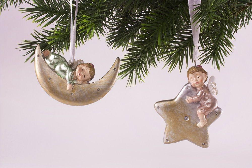 2 schlafende Engel - Anhänger für den Weihnachtsbaum