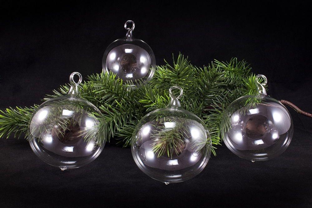 4 mittelgroße Weihnachtskugeln transparent 8cm unbemalt