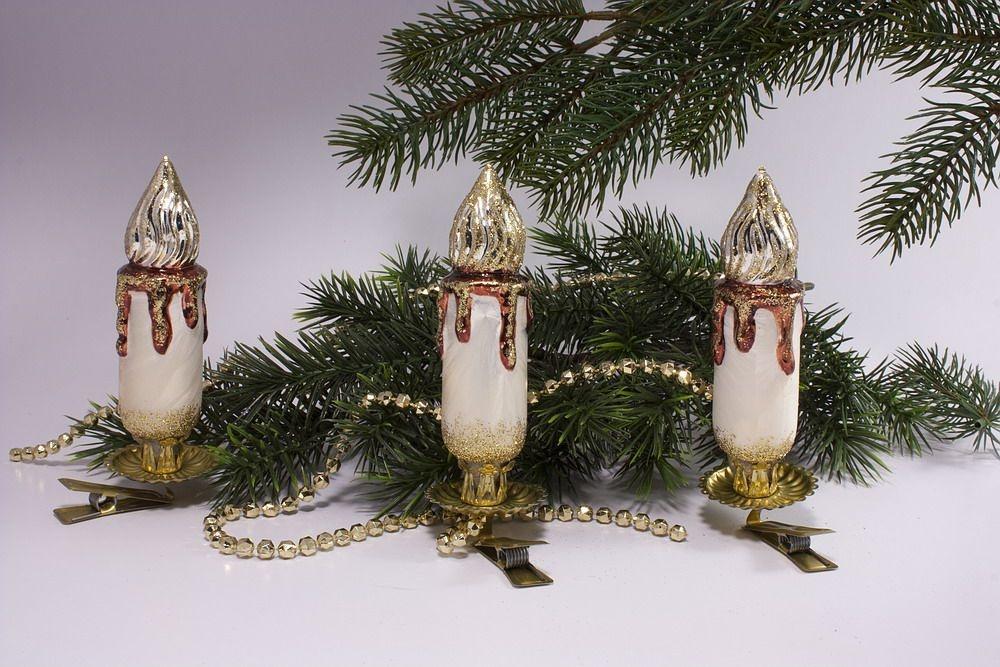 3 große Kerzen Eischampagner mit braun