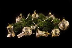 Weihnachtsbaumkugeln Glas klar mit Gold handbemalt