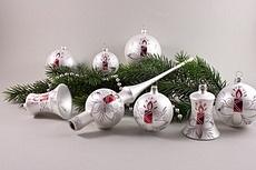 Weihnachtskugeln weiß matt rote Kerze im Set