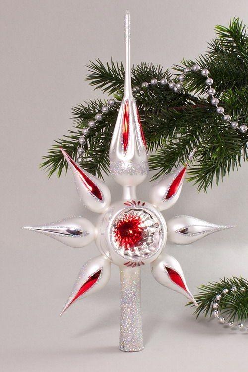 Christbaumspitze Stern Reflex Weiß matt rote Kerze