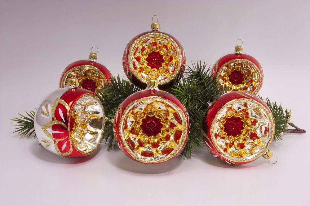 Christbaumkugeln Reflexkugeln.6 Reflexkugeln Rot O 8cm Im Sparset Christbaumkugeln Aus Glas