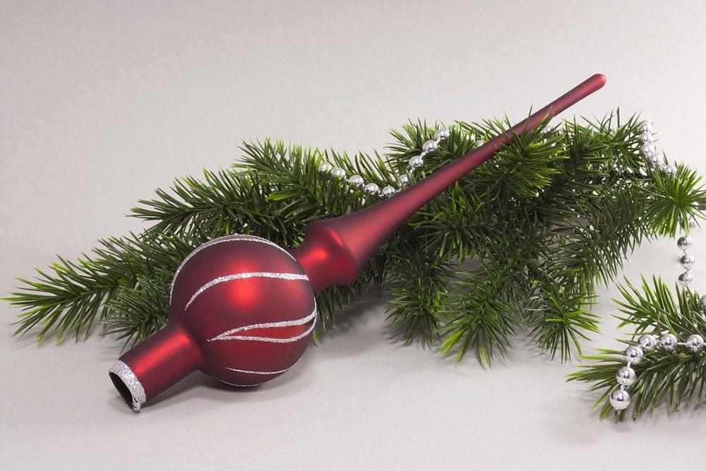 Weihnachtsbaumspitze Christbaumspitze rot matt antik silber