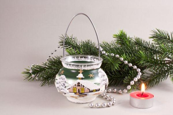 Teelichthalter Windlicht mit Bügel dunkelgrün