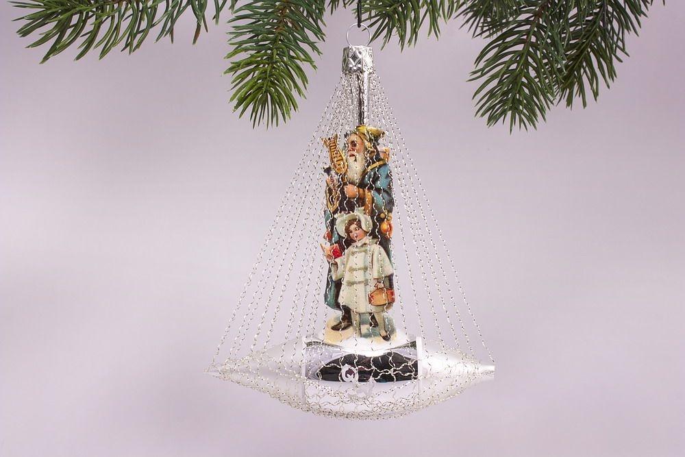 Nostalgisches schiffchen mit motiv in blau antik style for Nostalgische weihnachtskugeln