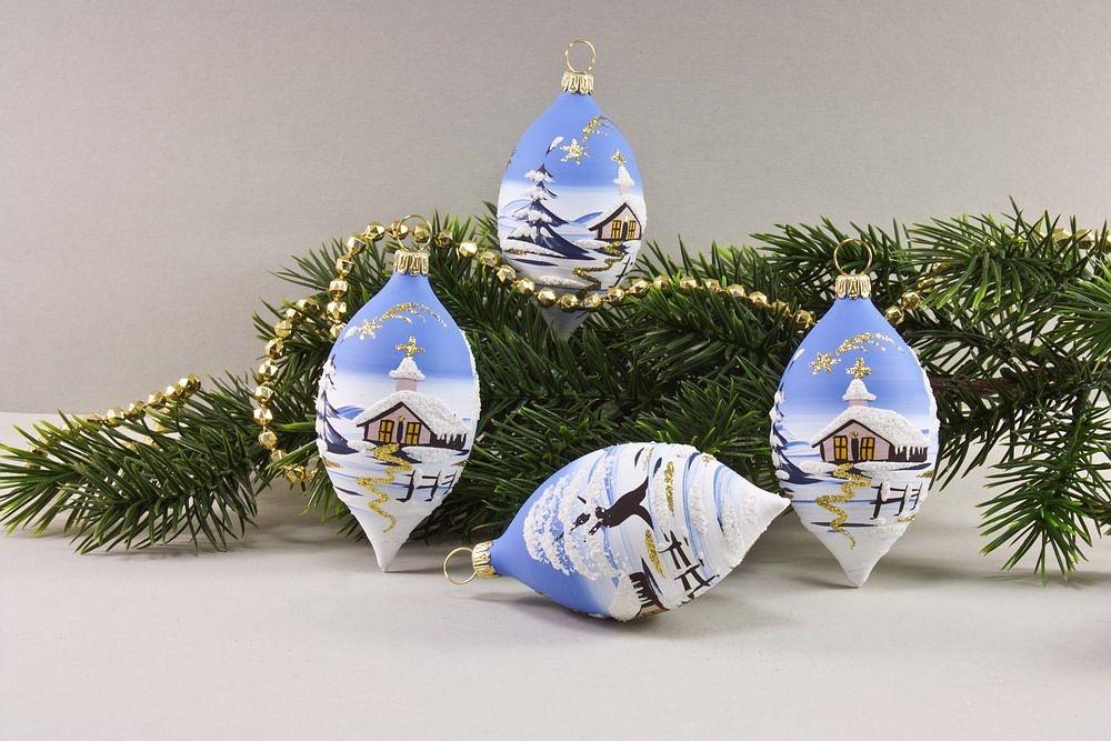 4 Zitronen mit Landschaft hellblau